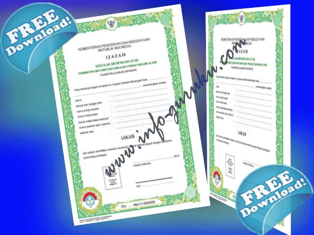 Contoh Format Blanko Ijazah Dan SHUN 2016 Dari Balitbang Kemdikbud