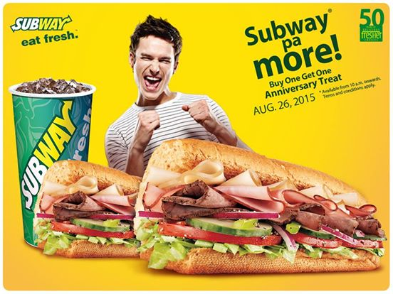 Subway celebrates 50th Anniversary with a Buy One Get One promo