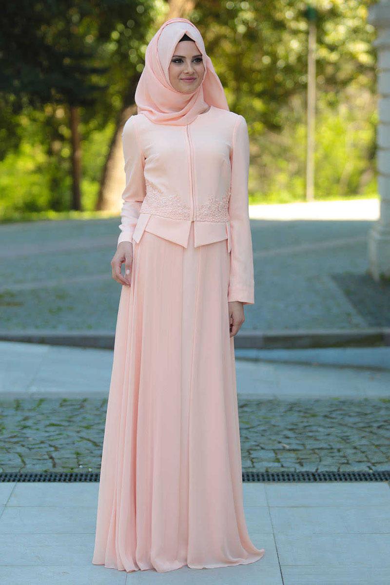 jilbab saudia warna pink peach lebaran