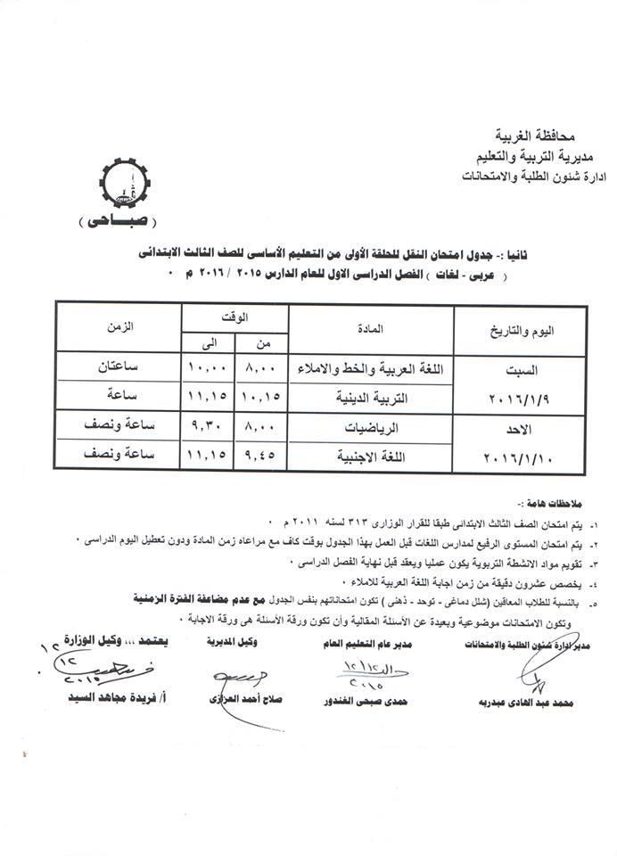 جدول إمتحانات الصف الثالث الابتدائى الفصل الدراسي الأول