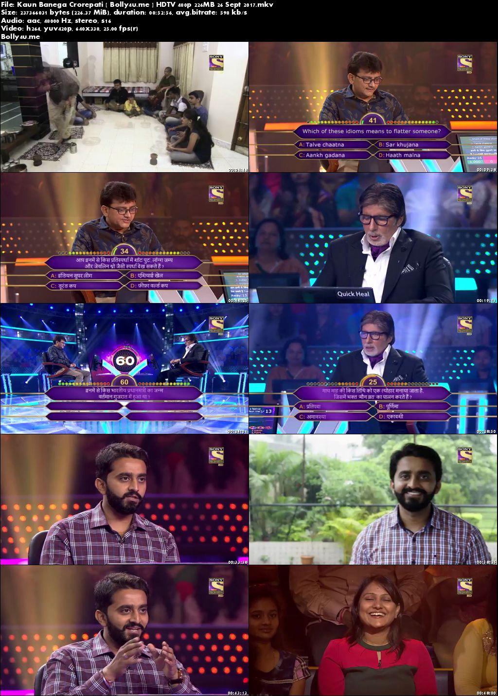 Kaun Banega Crorepati HDTV 200MB 480p 26 Sept 2017 Download