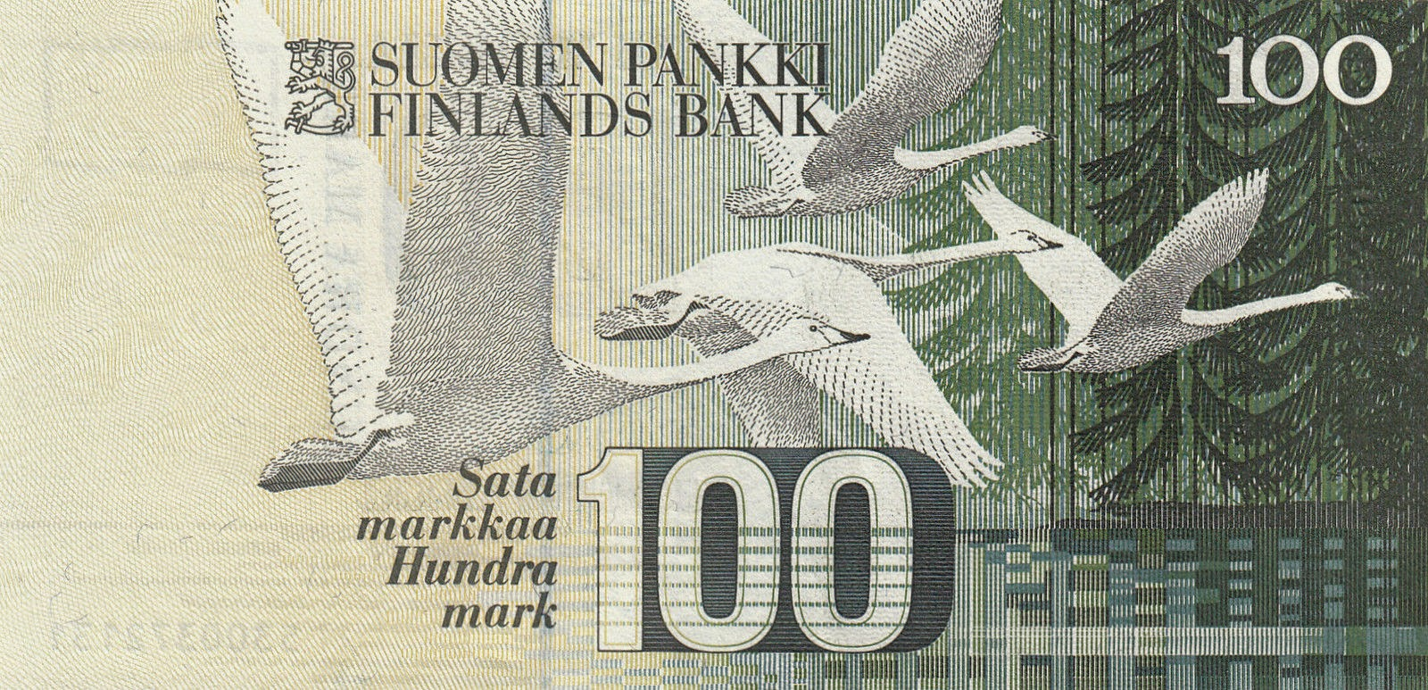 Finland money banknotes 100 Finnish Markkaa note