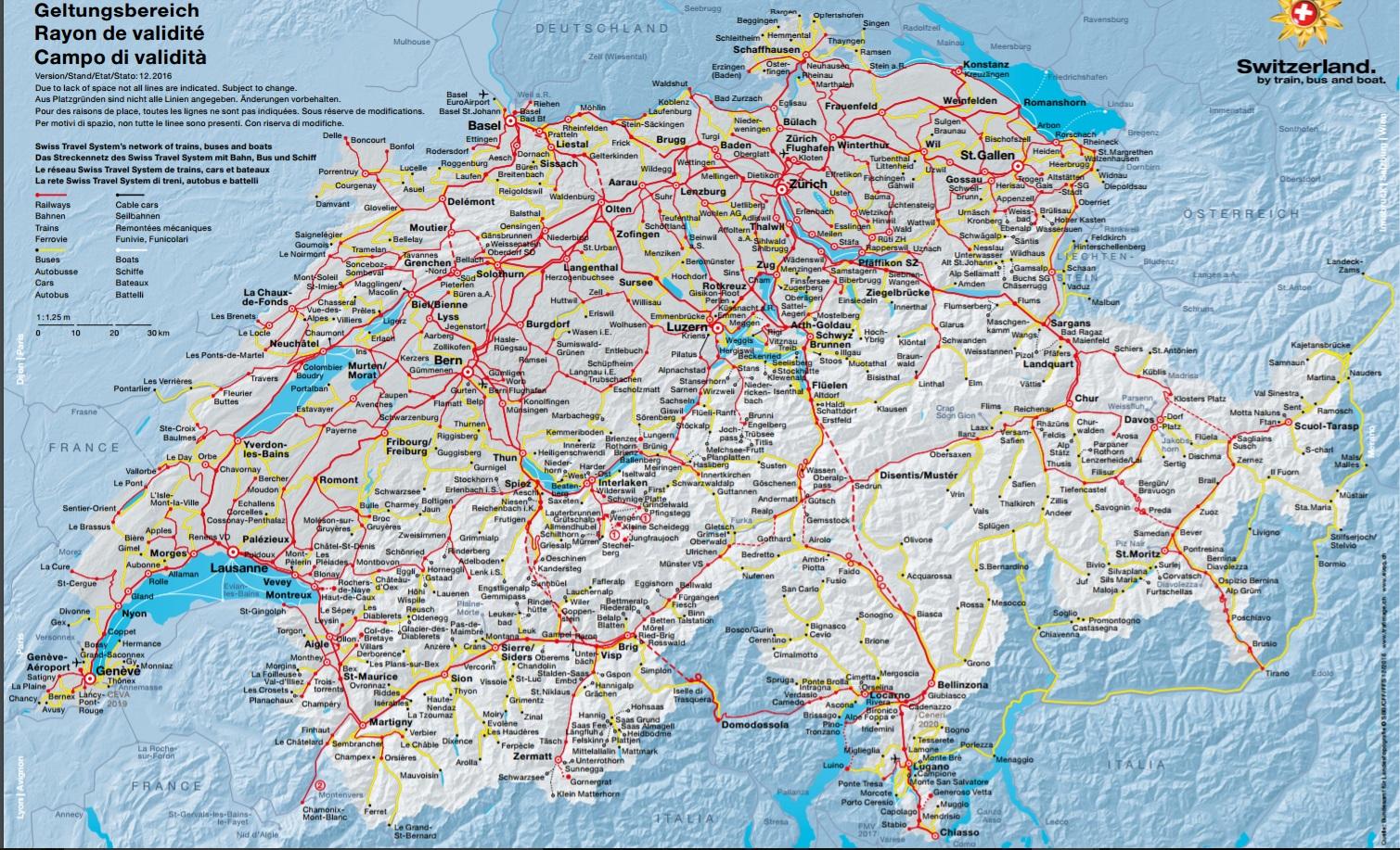 mapa da Suíça -roteiro Suíça  8 dias