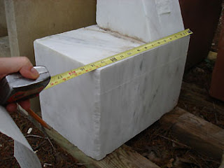 marble block cut from Gymnast stone sculpture art to be