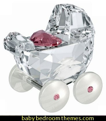 Swarovski Baby Carriage, Crystal and Light Rose Figurine