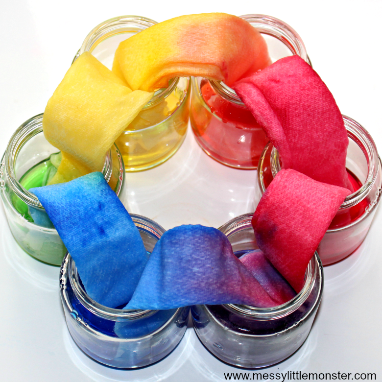 Rainbow walking water science experiment for preschoolers with free printable worksheet