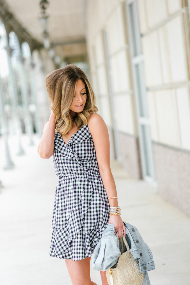Express Gingham Ruffle Wrap Cotton Cami Dress
