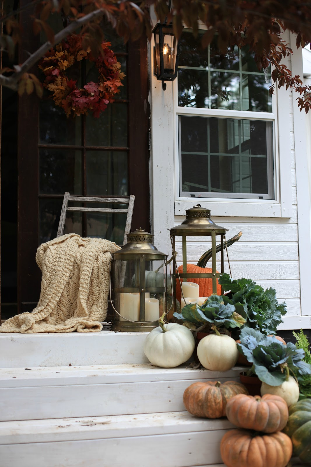 Natural decorating pumpkins leaves lanterns porch Natural decorating