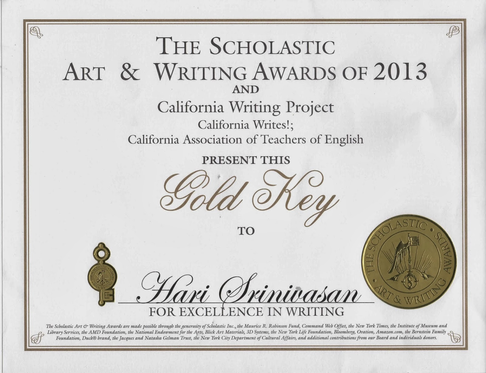 scholastic writing awards california