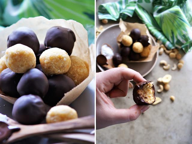 Fruchtige Kokoskugeln mit Bananenchips und Aprikosen