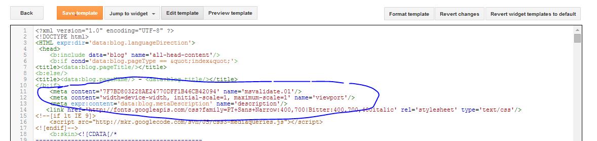 Adding Bing Meta Tag On Blogspot Template