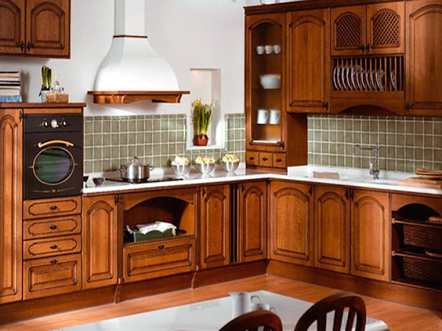 Brown kitchen cabinets made of Solid wood
