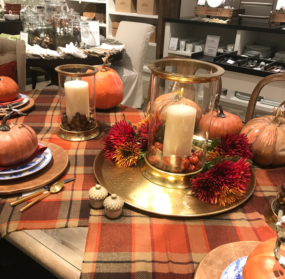 10 gorgeous christmas table decorating ideas 187 photo 2 - For My Centerpiece I Chose A Large Brass Tray And Three Brass Hurricanes The Hurricane In The Center Is The Larger Size And I Flanked It With Two Small
