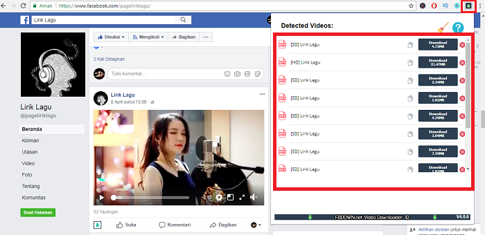 cara download video facebook dengan pc