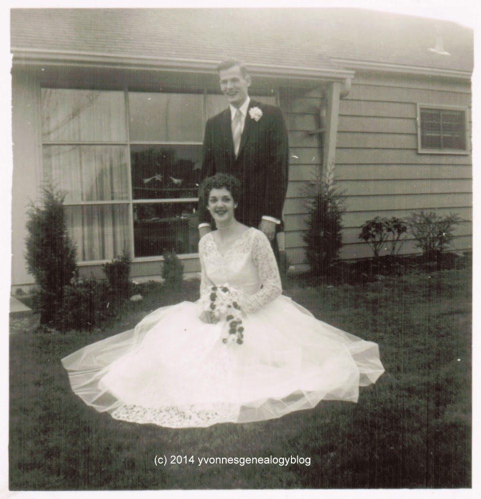 Howard Handy and Normande Desgroseilliers on their wedding day in April 1957