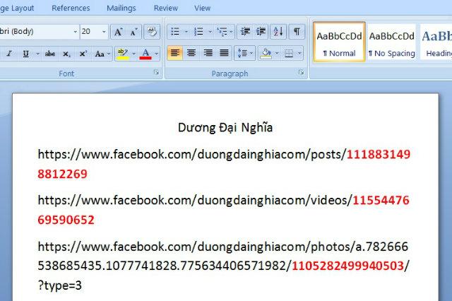 cách lấy id status facebook 4