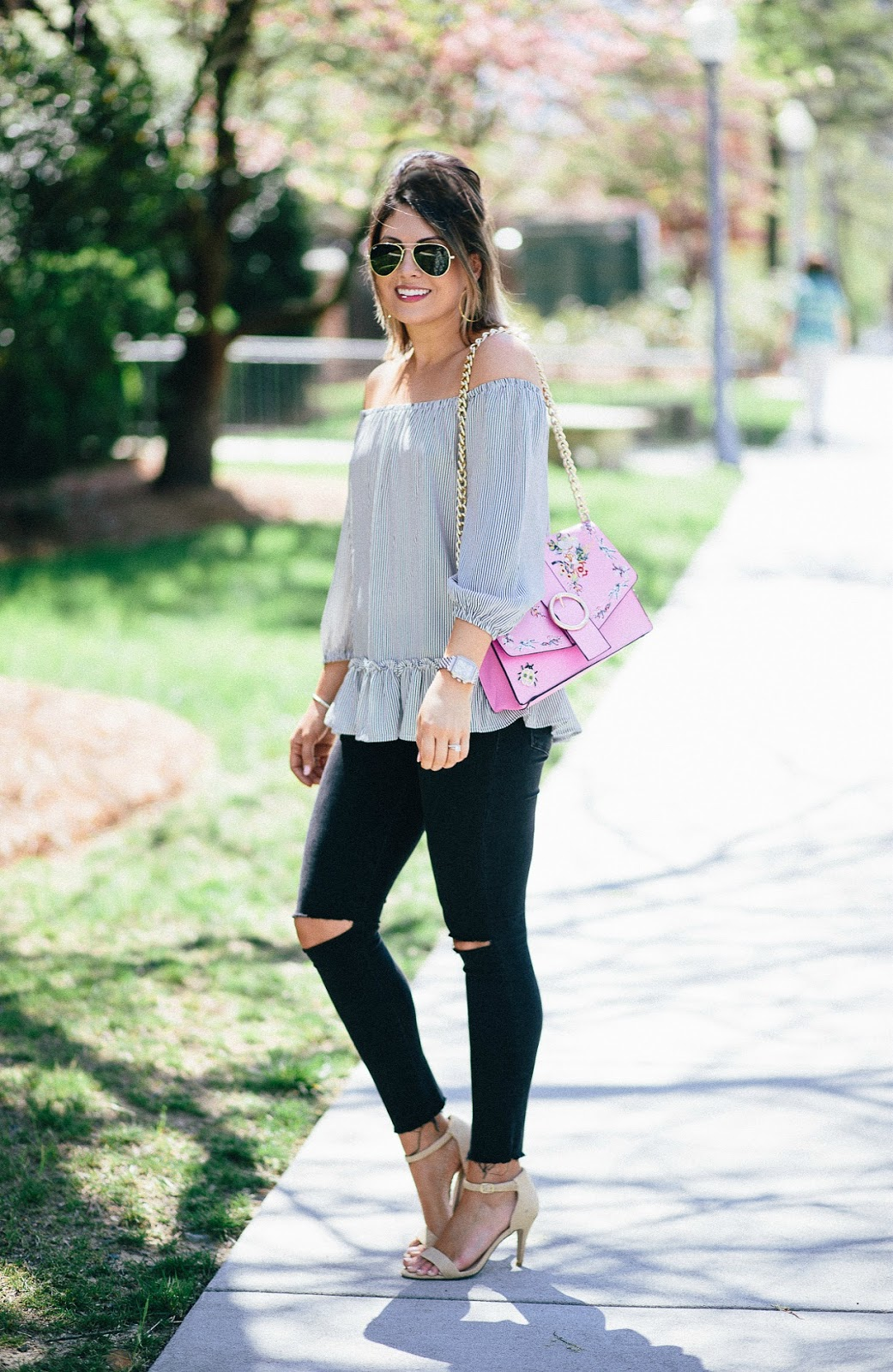 tj maxx top, ray ban aviators, striped ruffle off the shoulder top