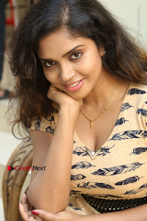 Telugu Actress Karunya Chowdary Stills in Short Dress at ATM Not Working Press Meet  0139.jpg