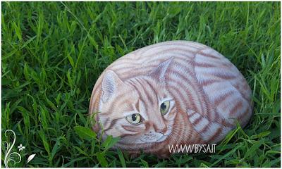 sassi dipinti a mano prezzi gatti tigrati
