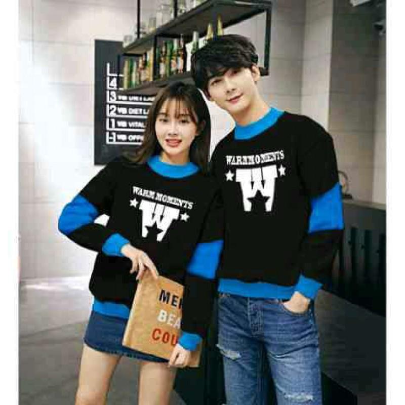 Jual Online Sweater Warm Black Turquise Couple Murah Jakarta Bahan Babytery Terbaru