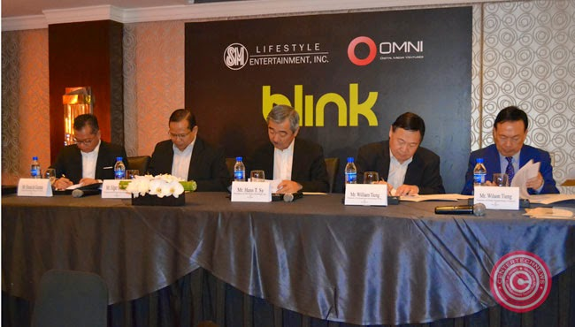"SM Lifestyle Entertainment, Incorporated (SMLEI) welcomes ""BLINK"" as SM Prime Holdings Inc. signs a Memorandum of Understanding together with Omni Digital Media Ventures Inc. at Edsa Shangri-la, Batanes Tower wing on December 4, 2014."