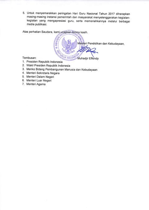 Surat Mendikbud Penyelenggaraan Upacara Bendera Peringatan Hari Guru Nasional Tahun 2017