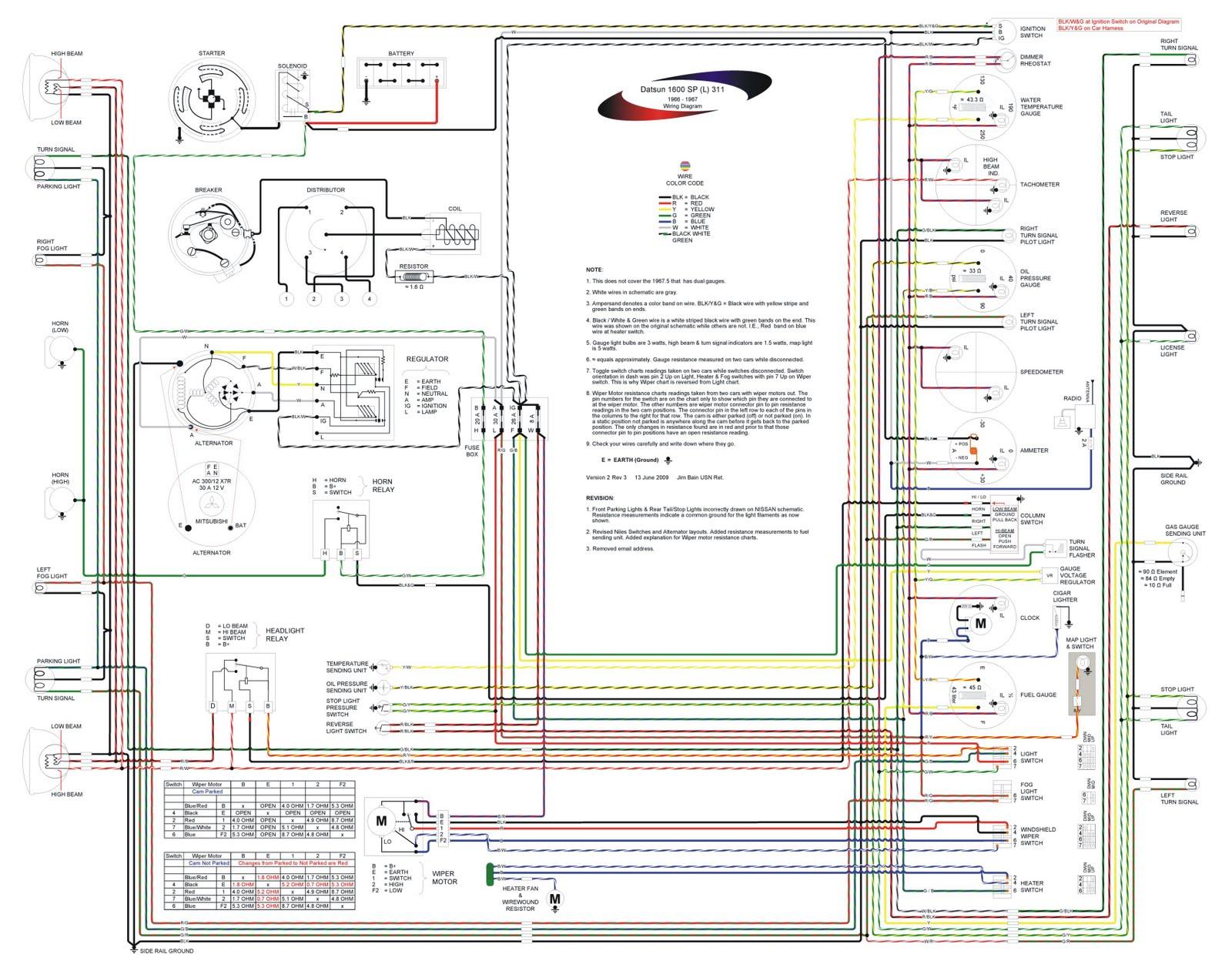 Ammeter Wiring Diagram Alternator Lights V Manual 1966 1967 Datsun 1600 Sports Wiring Schematic