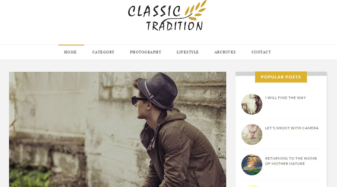 Classic Tradition Travel Blogger Template