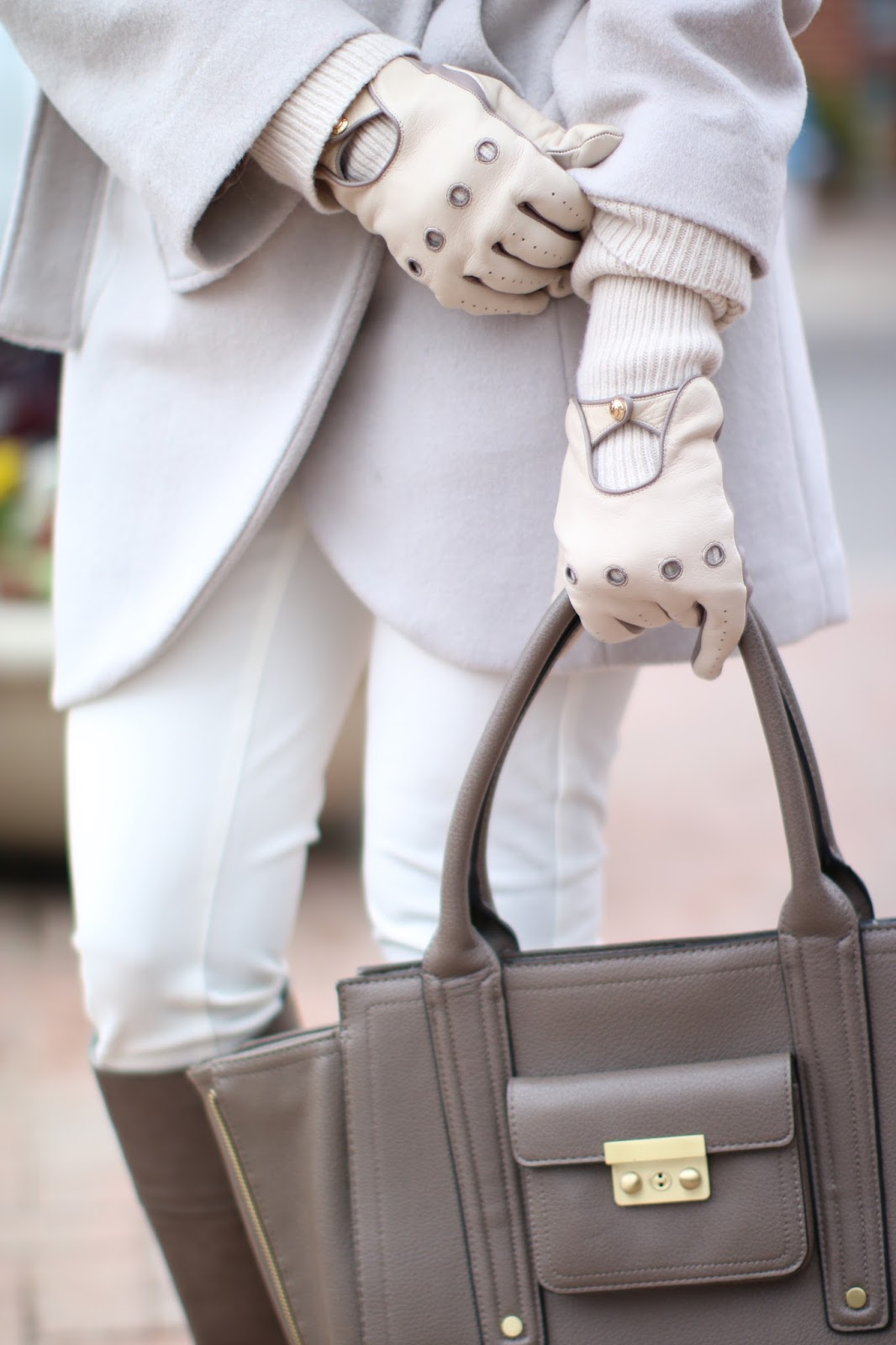 tahari shawl collar coat, shawl collar coat, henri bendel moto gloves, philip lim for target handbag, tory burch boots, taupe boots, wear white in winter, winter fashion, fashion blogger, dallas blogger, black girl blogger, how to wear neutrals
