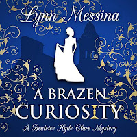 A Brazen Curiosity: A Regency Cozy audiobook cover. A woman silhouetted in white is superimposed onto a deep blue backhround with a grand country house behind it. Gold scrolling swirls frame the cover.