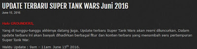 Update Terbaru Super Tank War Juni 2016