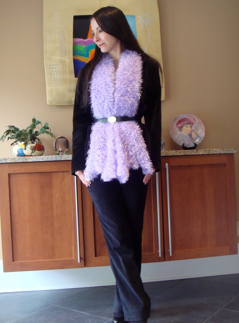 Black Velvet & Purple Fuzz outfit whole body showing black velvet pants and black shoes.