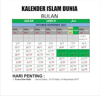 Kalender Islam Bersatu Bulan Safar 1439 H
