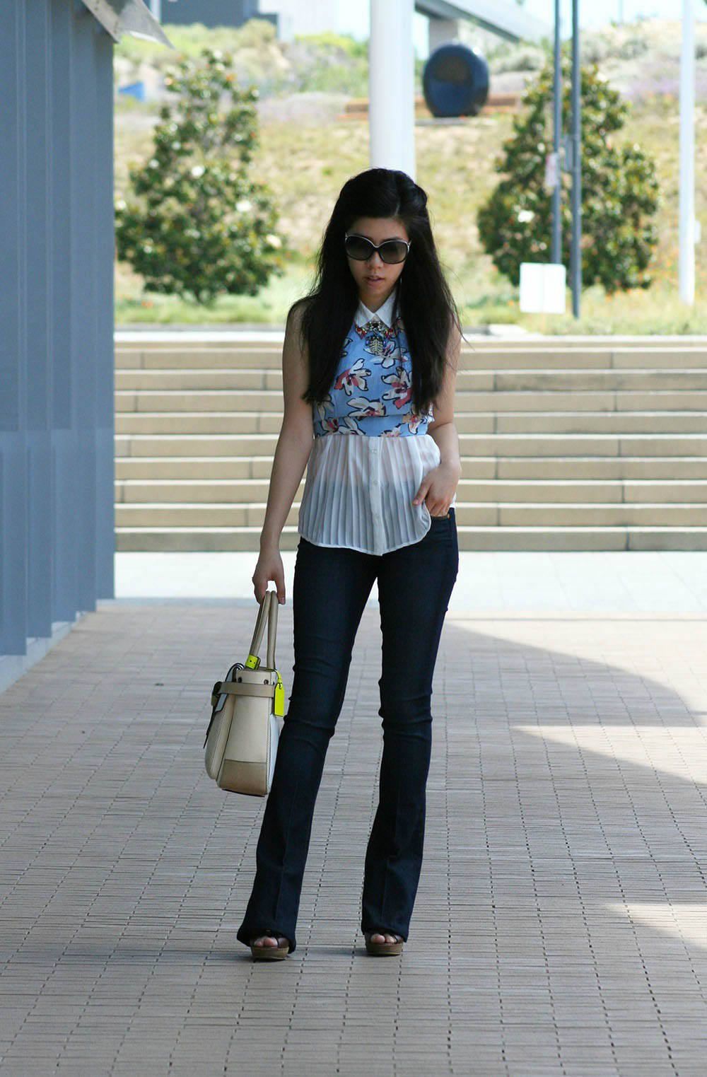 adrienne nguyen_Invictus_fashion blogger_floral crop top by l'atist los angeles with pleated top