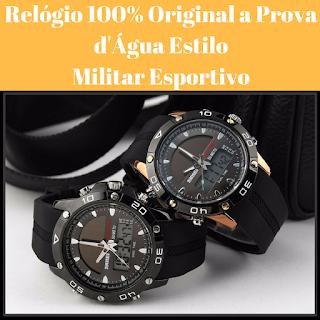 Relógio estilo militar e esportivo