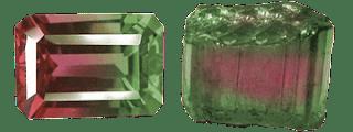 Turmalina sandia facetada en corte esmeralda - y un ejemplar en bruto