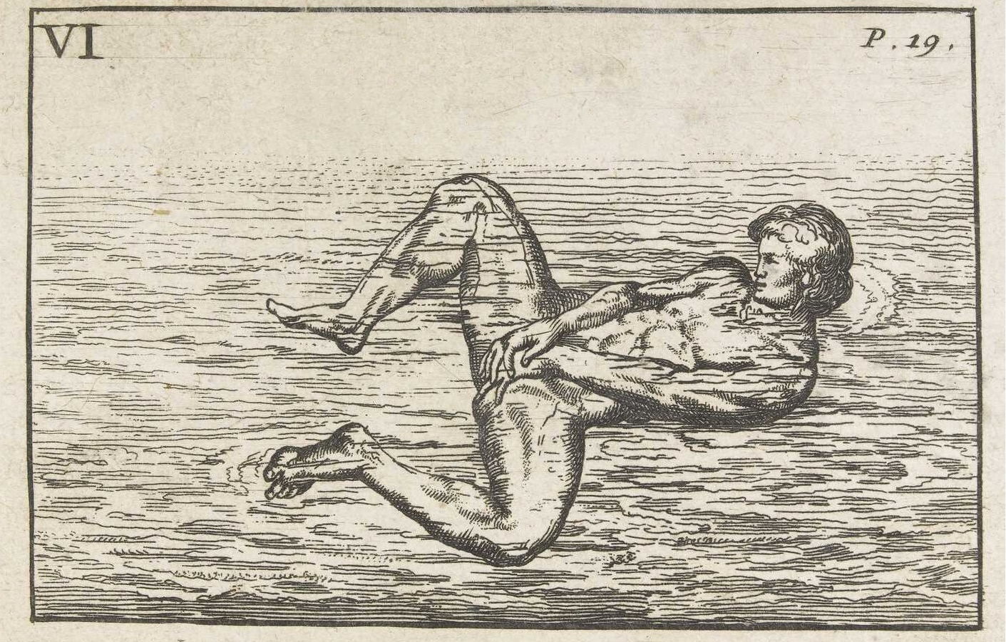 17th c. illustration of swimming technique