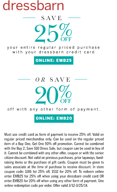 Oct 01,  · Online: You can also get 40% off hundreds of styles online. 10% Off Your Entire Purchase Printable: This is one of the best Dressbarn coupons I have seen.. You get an extra 10% discount on your total purchase and is combinable with other coupons. That's on top of their amazing deals! Mobile: Tap to show coupon in store on your smartphone/5(41).
