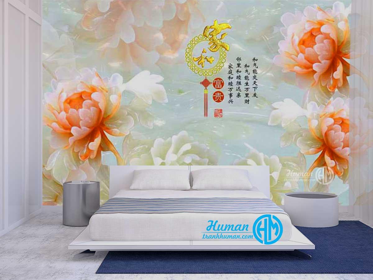 Tranh dán tường ngọc 3d hoa mẫu đơn