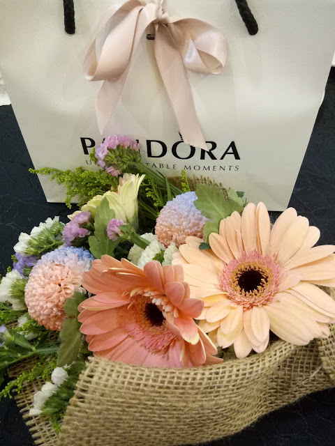 pandora and flower bouquet