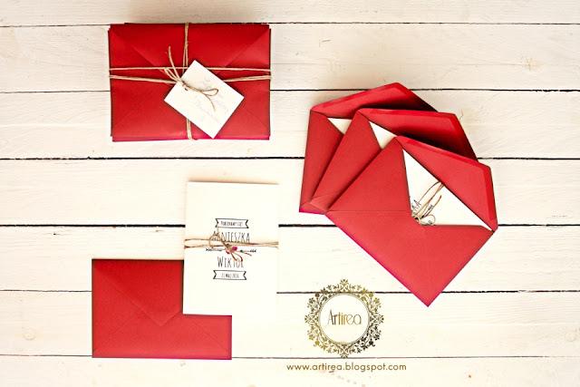biało bordowe proste zaproszenia ślubne artirea