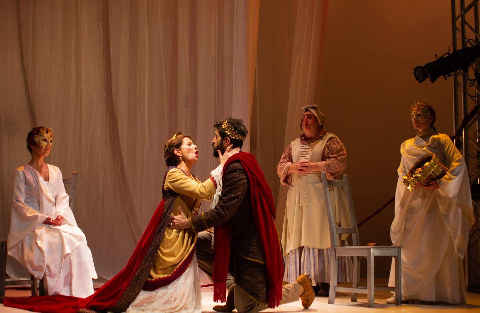 IN REVIEW: the cast of Florentine Opera's March 2019 production of Claudio Monteverdi's L'INCORONAZIONE DI POPPEA [Photograph by Kathy Wittman, © by Ball Square Films]