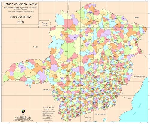 Mapa político de Minas Gerais