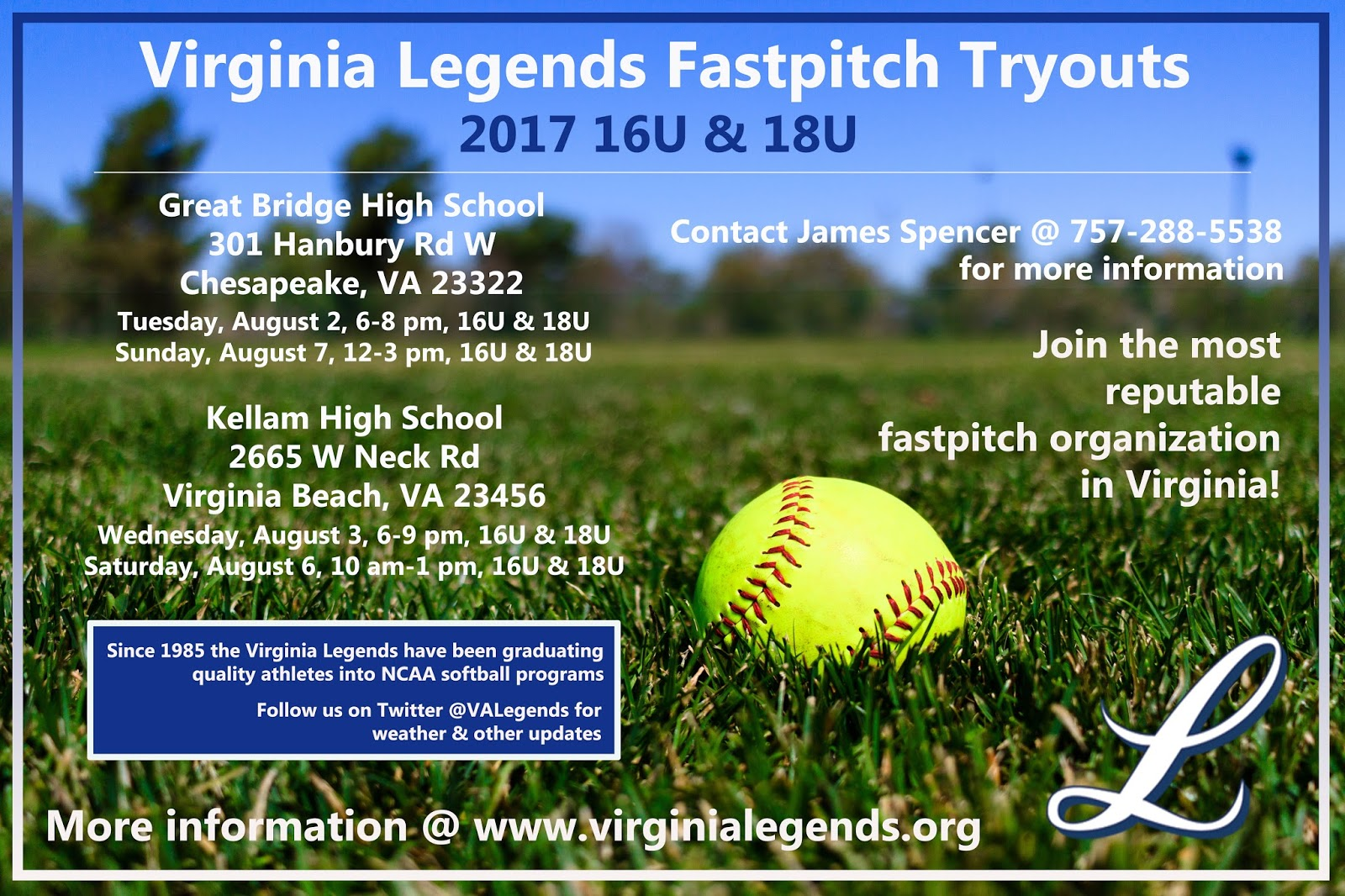 Virginia Legends Fastpitch News: July 2016