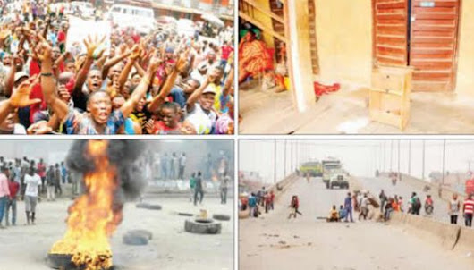 Protest As Customs Men Break Shops, Loot Thousands Of Bags Of Rice