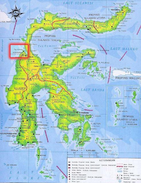 Gambar Peta letak Kota Donggala Palu