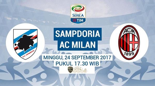 Prediksi Bola : Sampdoria Vs AC Milan , Minggu 24 September 2017 Pukul 17.30 WIB