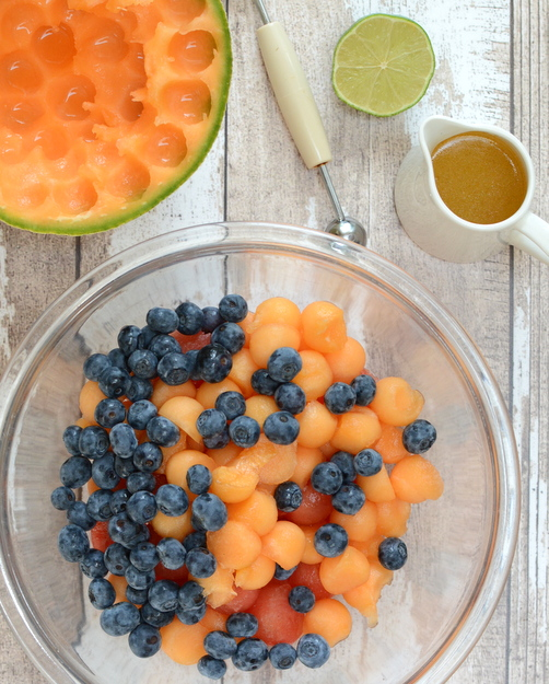 Summer's Best Melon Ball & Blueberry Salad, another Summer Easy recipe ♥ KitchenParade.com. Beautiful Color. Great for Potlucks & Light Weeknight Meals. Weight Watchers Friendly.
