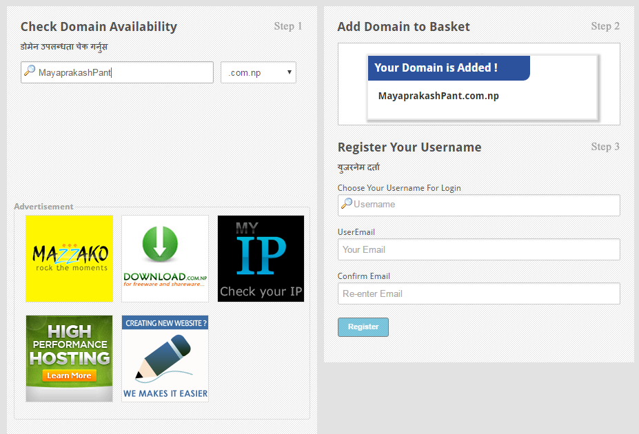 Add domain to basket.