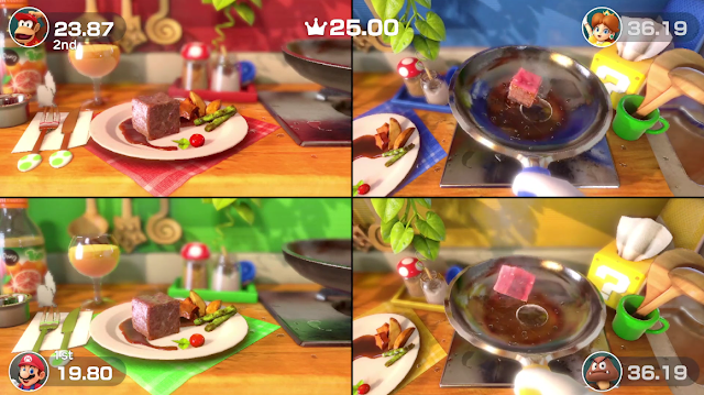 Super Mario Party Sizzling Stakes steaks minigame Goomba glove floating pan